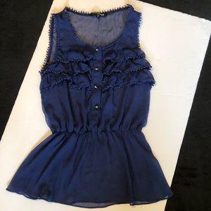 Express sheer top royal blue Xsmall shirt